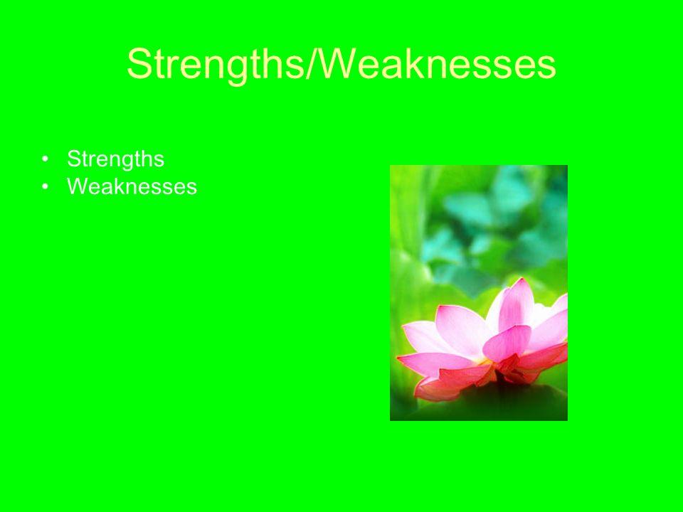 Strengths/Weaknesses Strengths Weaknesses