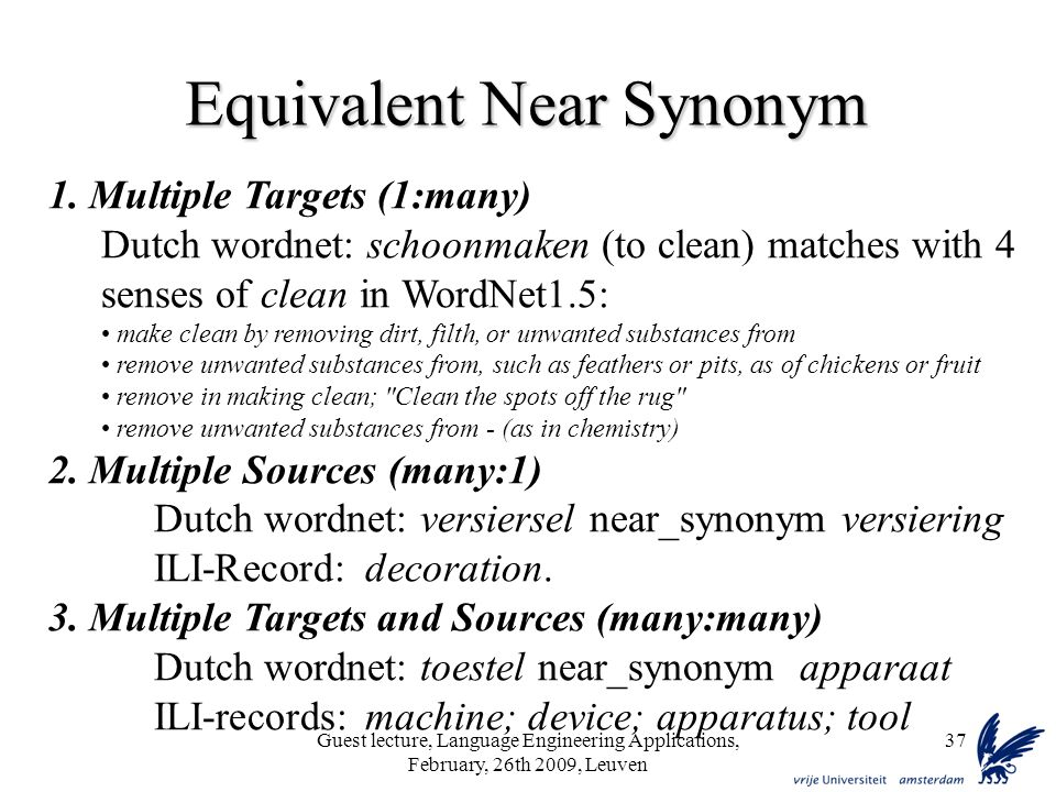 Guest lecture, Language Engineering Applications, February, 26th 2009, Leuven 37 Equivalent Near Synonym 1.