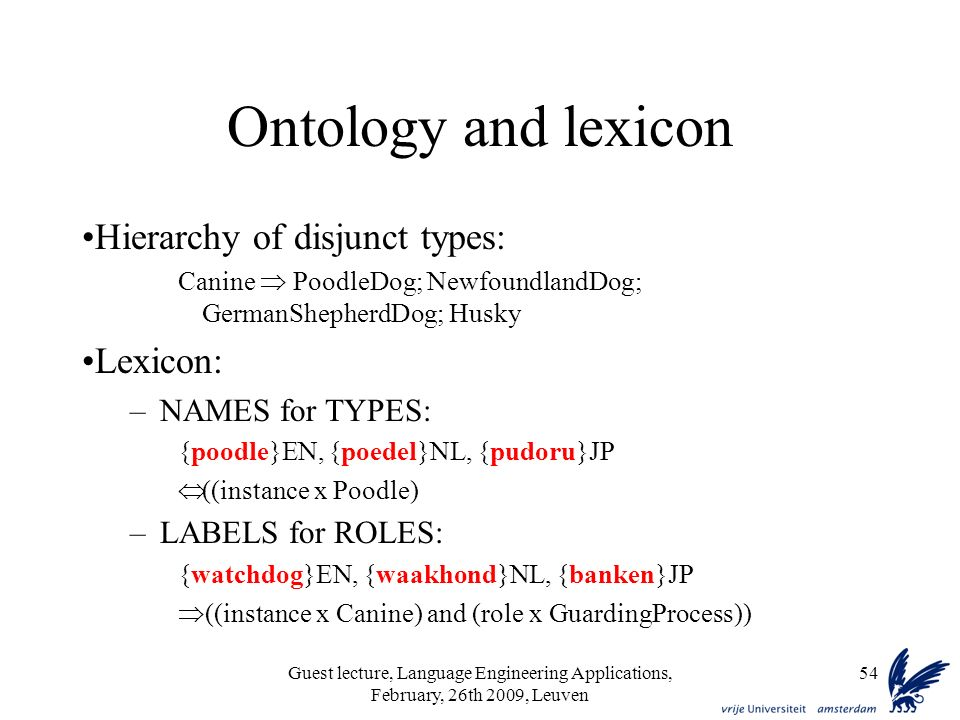Guest lecture, Language Engineering Applications, February, 26th 2009, Leuven 54 Ontology and lexicon Hierarchy of disjunct types: Canine PoodleDog; NewfoundlandDog; GermanShepherdDog; Husky Lexicon: –NAMES for TYPES: {poodle}EN, {poedel}NL, {pudoru}JP ((instance x Poodle) –LABELS for ROLES: {watchdog}EN, {waakhond}NL, {banken}JP ((instance x Canine) and (role x GuardingProcess))
