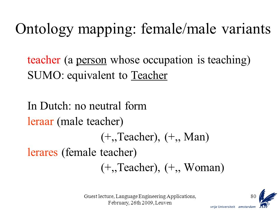 Guest lecture, Language Engineering Applications, February, 26th 2009, Leuven 80 Ontology mapping: female/male variants teacher (a person whose occupation is teaching) SUMO: equivalent to Teacher In Dutch: no neutral form leraar (male teacher) (+,,Teacher), (+,, Man) lerares (female teacher) (+,,Teacher), (+,, Woman)