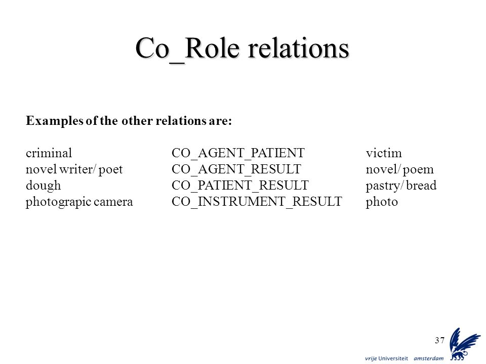 37 Co_Role relations Examples of the other relations are: criminalCO_AGENT_PATIENTvictim novel writer/ poetCO_AGENT_RESULTnovel/ poem doughCO_PATIENT_