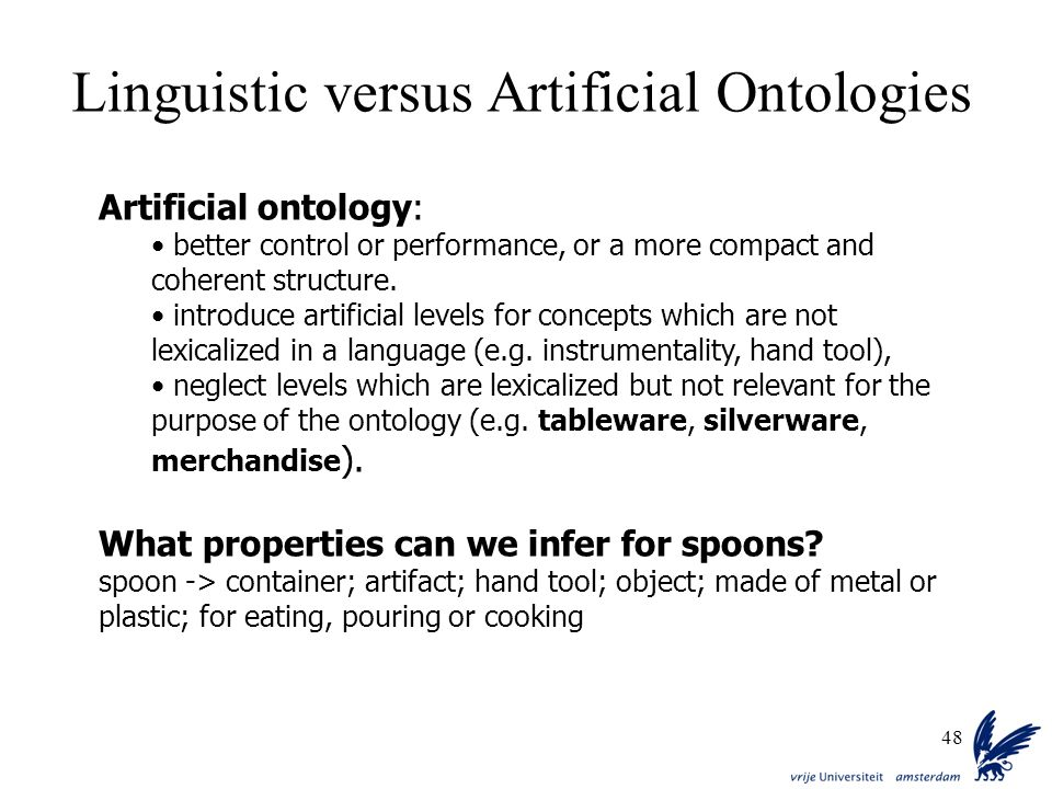 48 Artificial ontology: better control or performance, or a more compact and coherent structure. introduce artificial levels for concepts which are no