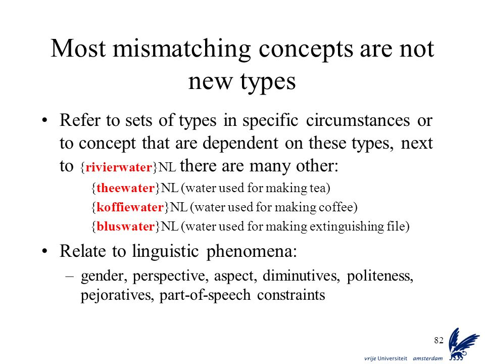 82 Most mismatching concepts are not new types Refer to sets of types in specific circumstances or to concept that are dependent on these types, next