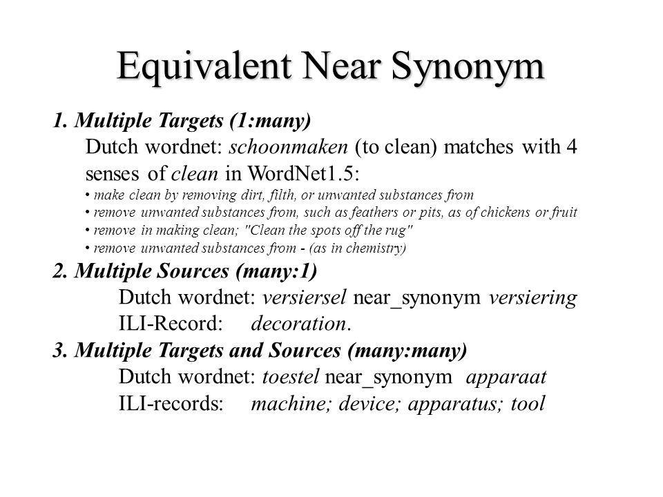 Equivalent Near Synonym 1. Multiple Targets (1:many) Dutch wordnet: schoonmaken (to clean) matches with 4 senses of clean in WordNet1.5: make clean by