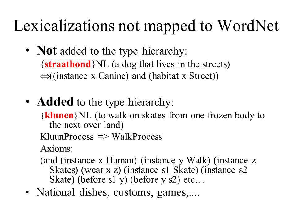 Lexicalizations not mapped to WordNet Not added to the type hierarchy: {straathond}NL (a dog that lives in the streets) ((instance x Canine) and (habi