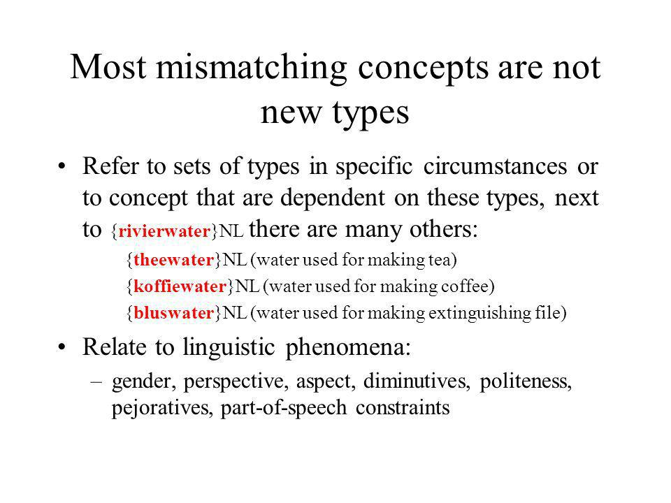 Most mismatching concepts are not new types Refer to sets of types in specific circumstances or to concept that are dependent on these types, next to