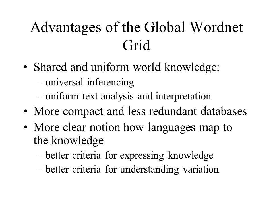 Advantages of the Global Wordnet Grid Shared and uniform world knowledge: –universal inferencing –uniform text analysis and interpretation More compac