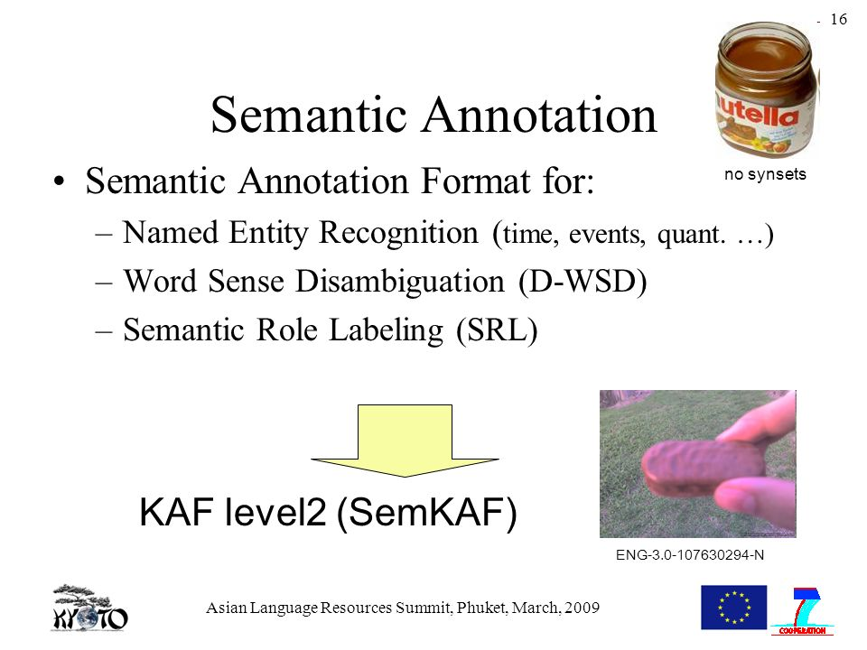 Asian Language Resources Summit, Phuket, March, 2009 16 Semantic Annotation Semantic Annotation Format for: –Named Entity Recognition ( time, events, quant.