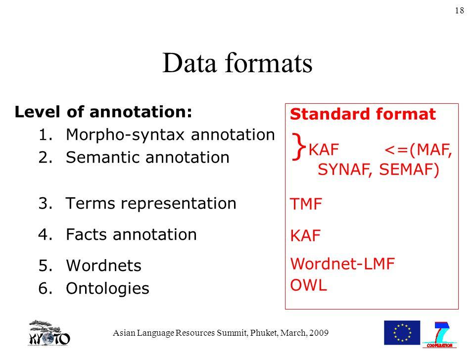 Asian Language Resources Summit, Phuket, March, 2009 18 Data formats Level of annotation: 1.Morpho-syntax annotation 2.Semantic annotation 3.Terms representation 4.Facts annotation 5.Wordnets 6.Ontologies Standard format } KAF <=(MAF, SYNAF, SEMAF) TMF KAF Wordnet-LMF OWL
