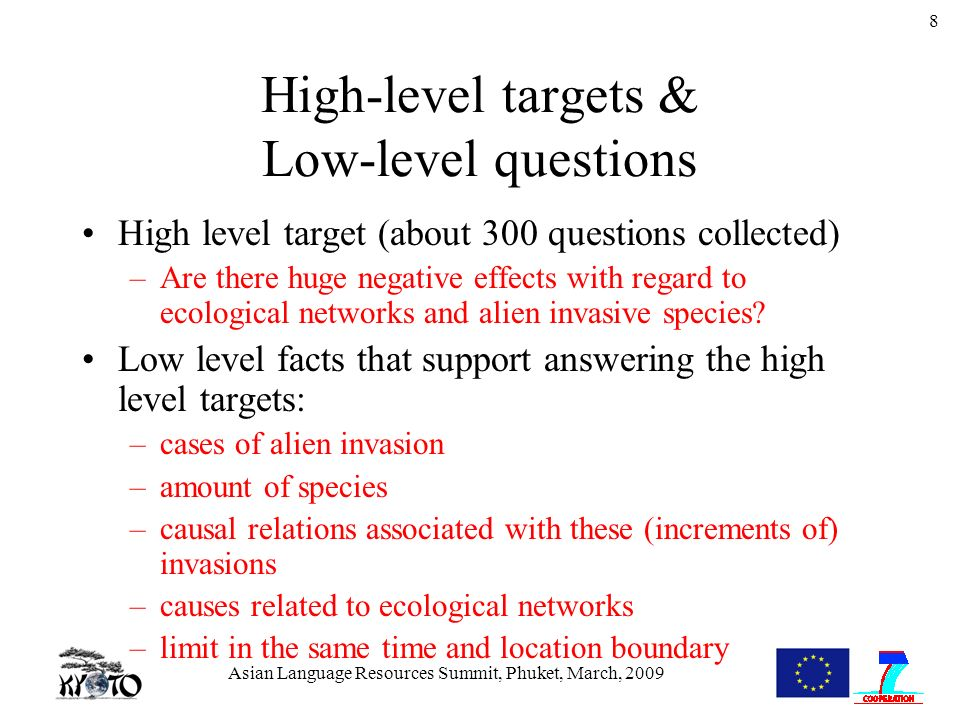 Asian Language Resources Summit, Phuket, March, 2009 8 High-level targets & Low-level questions High level target (about 300 questions collected) –Are there huge negative effects with regard to ecological networks and alien invasive species.