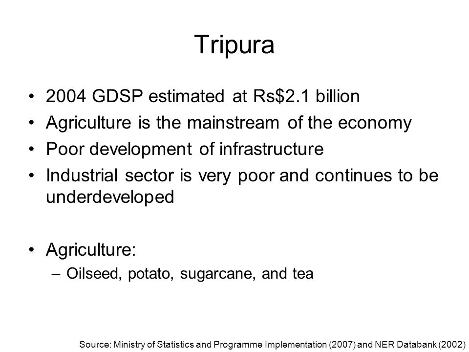Tripura 2004 GDSP estimated at Rs$2.1 billion Agriculture is the mainstream of the economy Poor development of infrastructure Industrial sector is ver