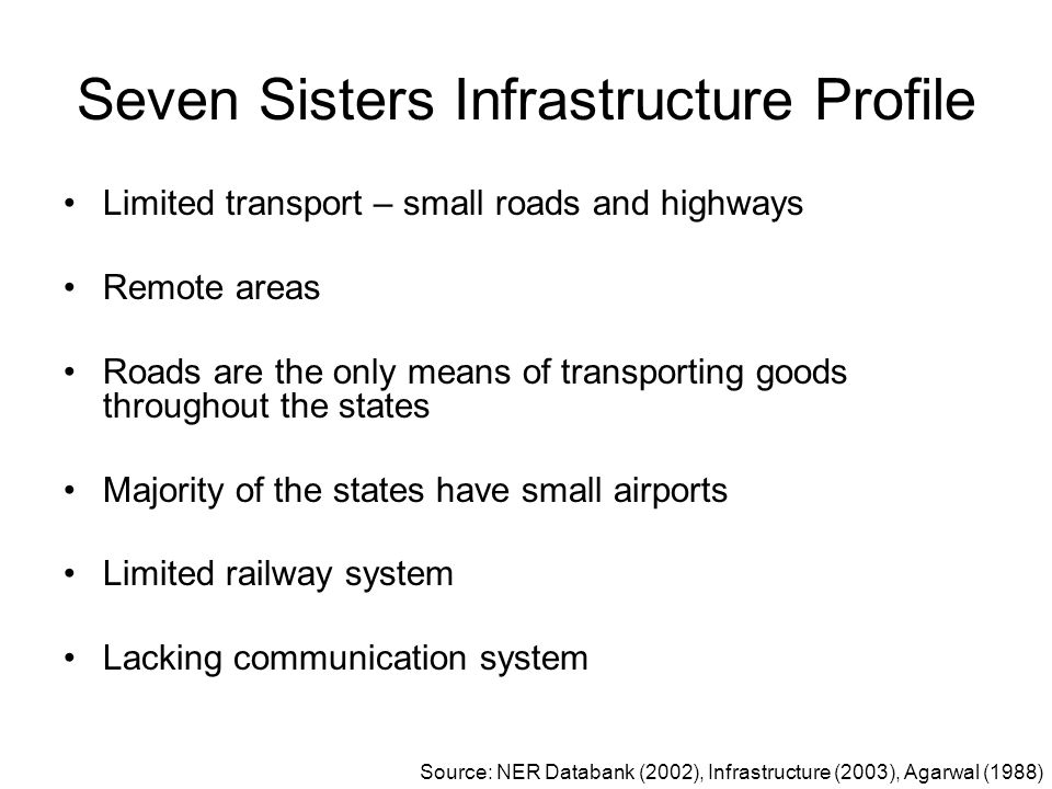 Seven Sisters Infrastructure Profile Limited transport – small roads and highways Remote areas Roads are the only means of transporting goods througho