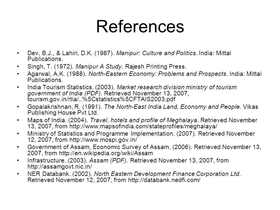 References Dev, B.J., & Lahiri, D.K. (1987). Manipur: Culture and Politics. India: Mittal Publications. Singh, T. (1972). Manipur A Study. Rajesh Prin