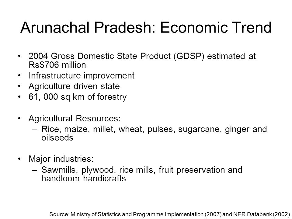 Arunachal Pradesh: Economic Trend 2004 Gross Domestic State Product (GDSP) estimated at Rs$706 million Infrastructure improvement Agriculture driven s