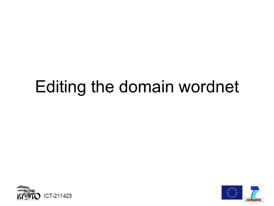 ICT-211423 Editing the domain wordnet