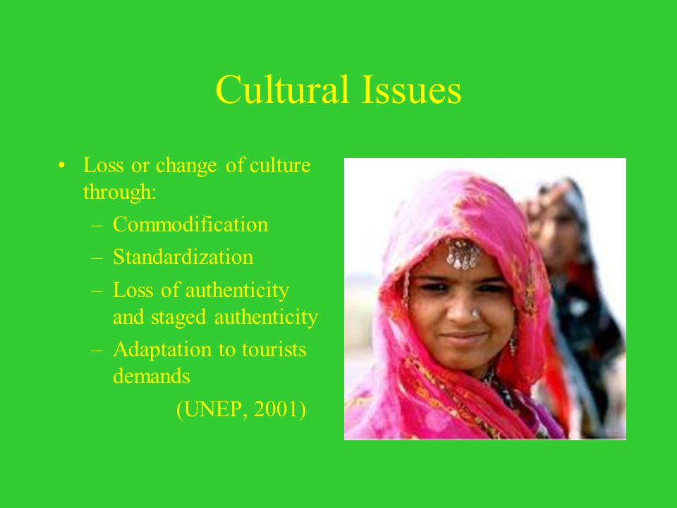 Cultural Issues Loss or change of culture through: –Commodification –Standardization –Loss of authenticity and staged authenticity –Adaptation to tour