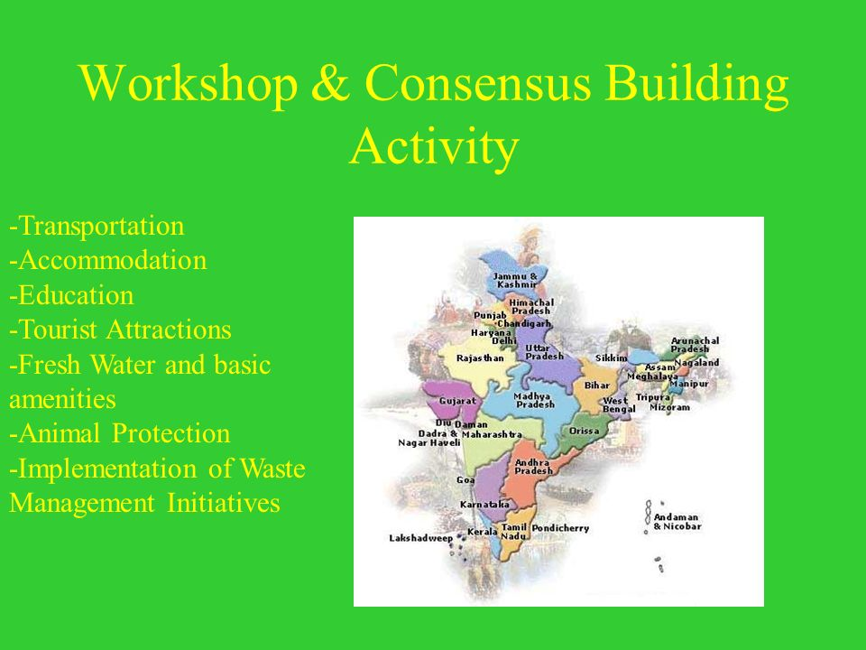 Workshop & Consensus Building Activity -Transportation -Accommodation -Education -Tourist Attractions -Fresh Water and basic amenities -Animal Protect