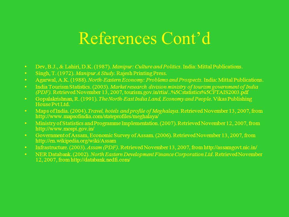 References Contd Dev, B.J., & Lahiri, D.K. (1987). Manipur: Culture and Politics. India: Mittal Publications. Singh, T. (1972). Manipur A Study. Rajes