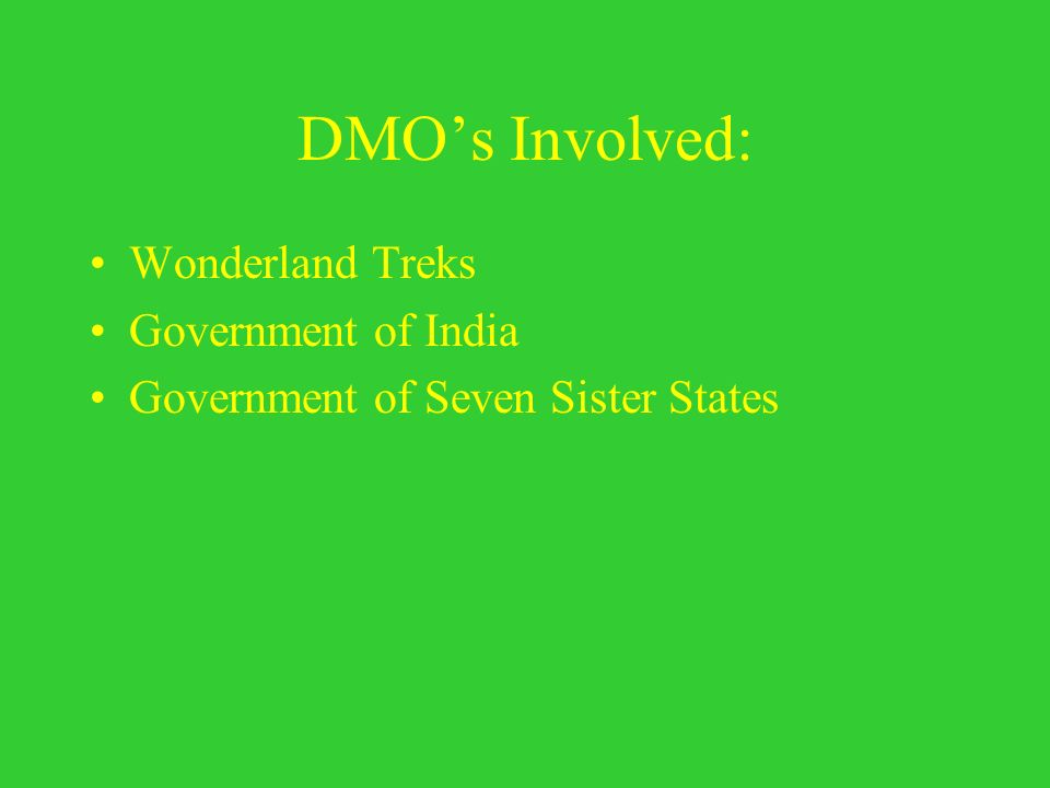DMOs Involved: Wonderland Treks Government of India Government of Seven Sister States