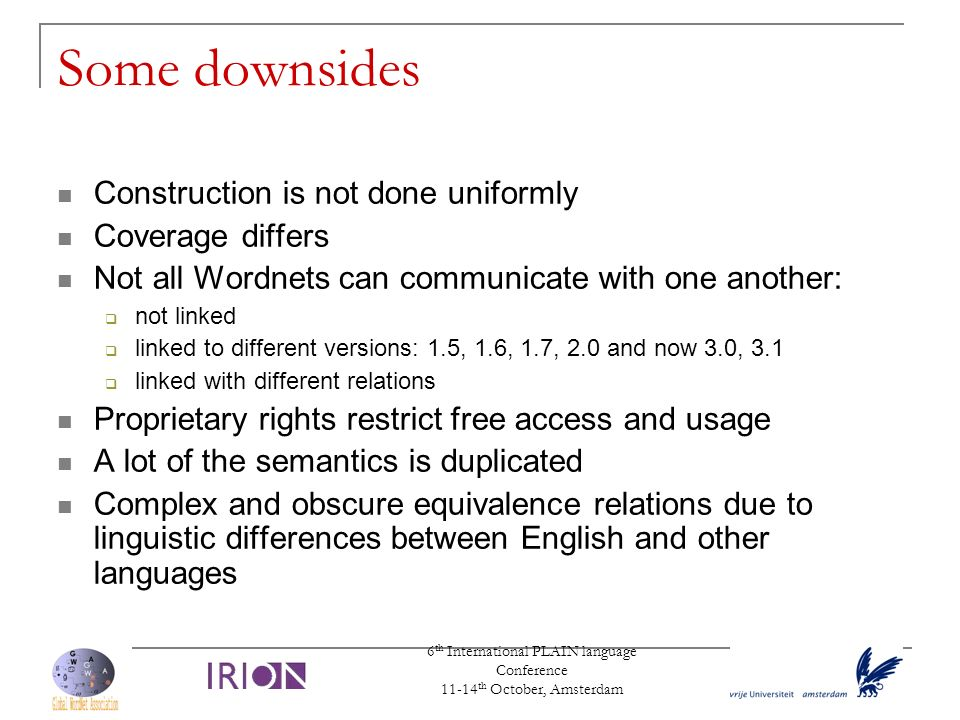 6 th International PLAIN language Conference 11-14 th October, Amsterdam Some downsides Construction is not done uniformly Coverage differs Not all Wo