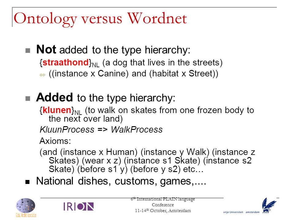 6 th International PLAIN language Conference 11-14 th October, Amsterdam Ontology versus Wordnet Not added to the type hierarchy: {straathond} NL (a d