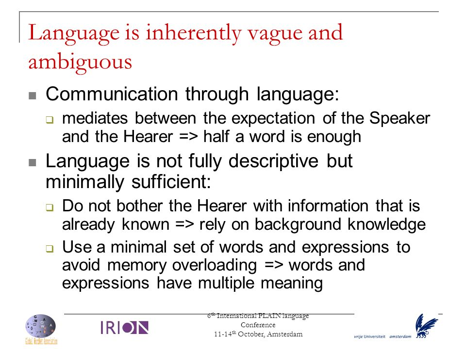 6 th International PLAIN language Conference 11-14 th October, Amsterdam Language is inherently vague and ambiguous Communication through language: me
