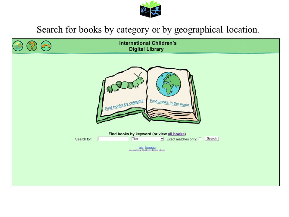 Search for books by category or by geographical location.