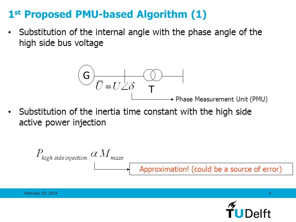 February 15, 20146 1 st Proposed PMU-based Algorithm (1) Substitution of the internal angle with the phase angle of the high side bus voltage Substitu