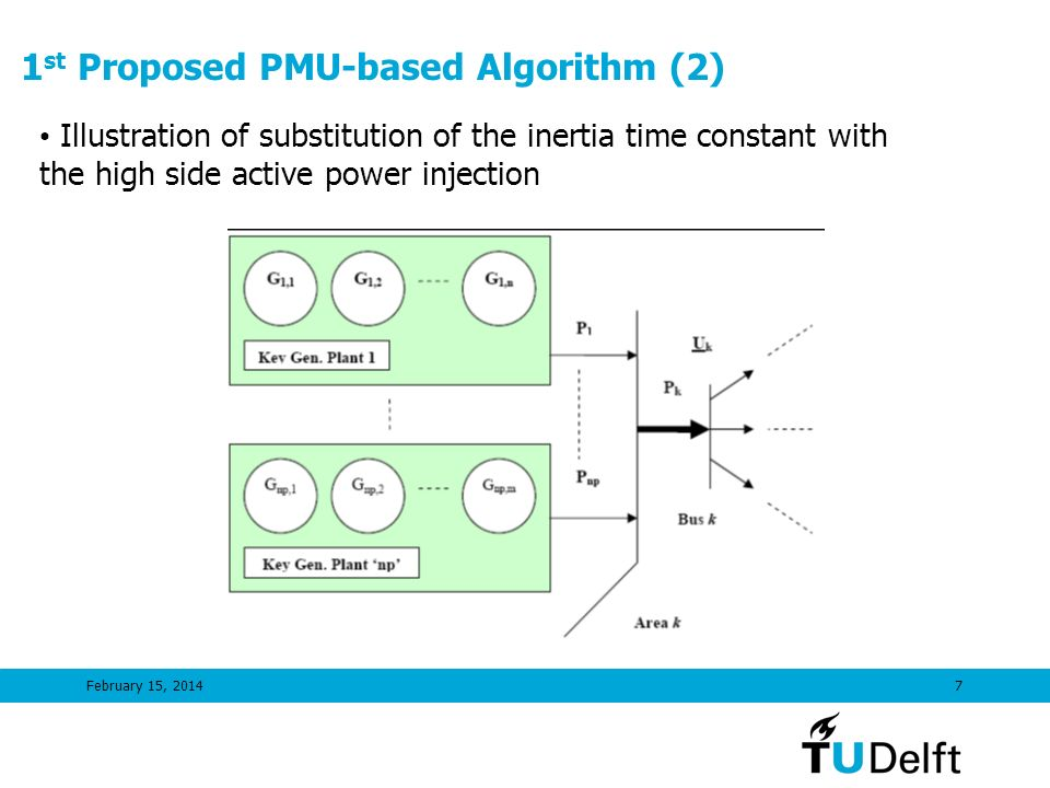 February 15, 20147 1 st Proposed PMU-based Algorithm (2) Illustration of substitution of the inertia time constant with the high side active power inj
