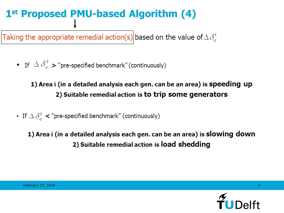 February 15, 20149 1 st Proposed PMU-based Algorithm (4) Taking the appropriate remedial action(s) based on the value of If > pre-specified benchmark