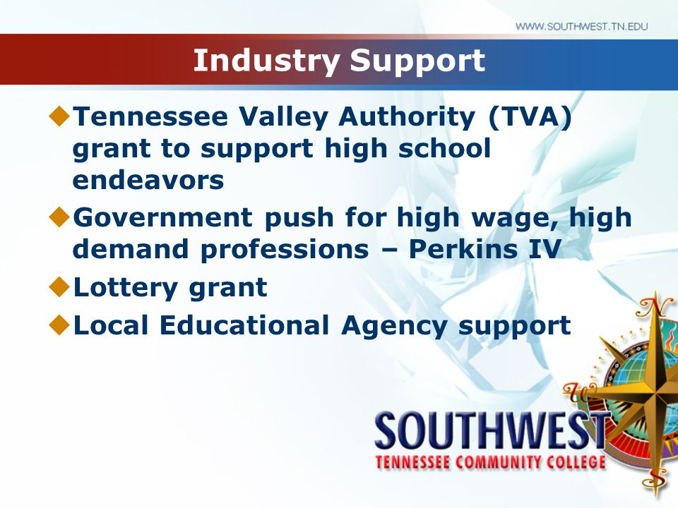 Industry Support Tennessee Valley Authority (TVA) grant to support high school endeavors Government push for high wage, high demand professions – Perk