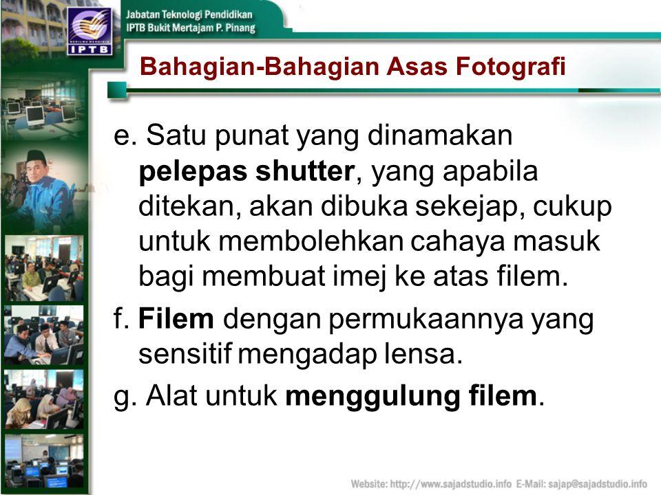 Bahagian-Bahagian Asas Fotografi e. Satu punat yang dinamakan pelepas shutter, yang apabila ditekan, akan dibuka sekejap, cukup untuk membolehkan caha