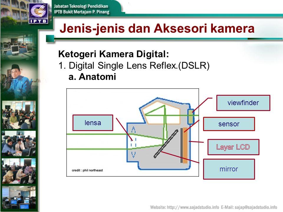 Jenis-jenis dan Aksesori kamera Ketogeri Kamera Digital: 1.Digital Single Lens Reflex.(DSLR) a. Anatomi viewfinder sensor lensa mirror