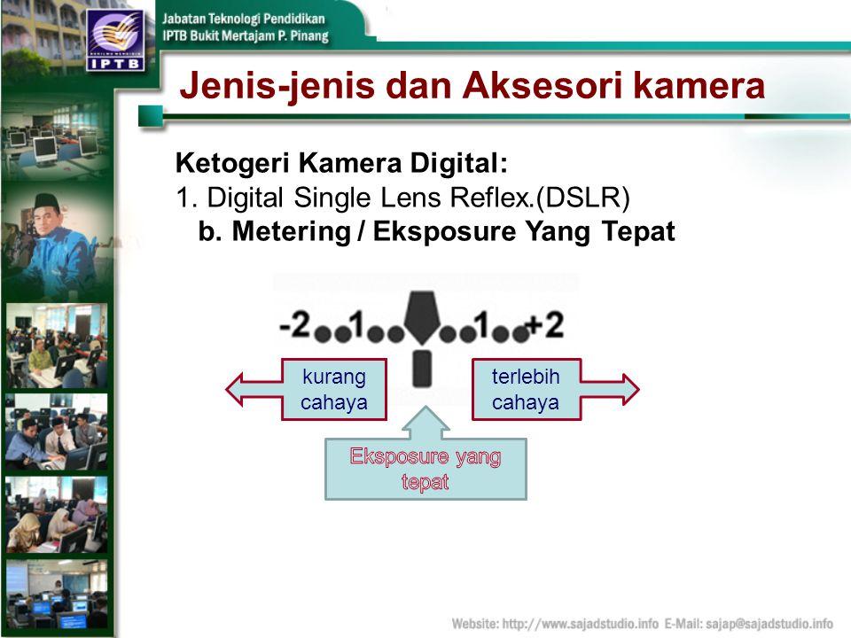 Jenis-jenis dan Aksesori kamera Ketogeri Kamera Digital: 1.Digital Single Lens Reflex.(DSLR) b. Metering / Eksposure Yang Tepat terlebih cahaya kurang
