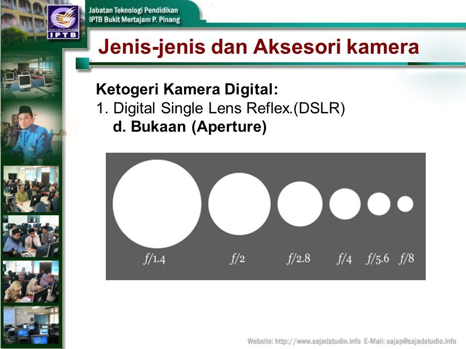 Jenis-jenis dan Aksesori kamera Ketogeri Kamera Digital: 1.Digital Single Lens Reflex.(DSLR) d. Bukaan (Aperture)