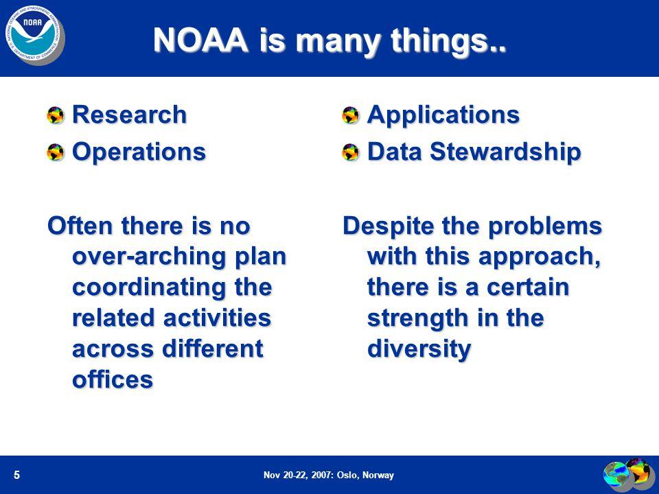 Nov 20-22, 2007: Oslo, Norway 5 NOAA is many things..