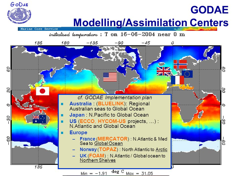 Marine Core Service GODAE Modelling/Assimilation Centers cf. GODAE Implementation plan n Australia : (BLUELINK): Regional Australian seas to Global Oc