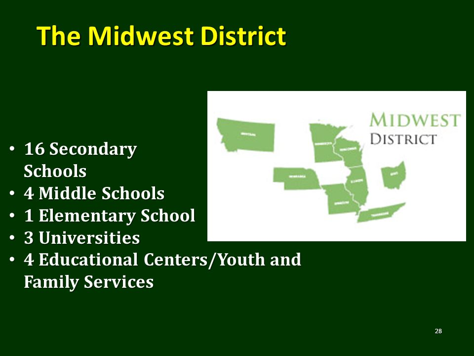 The Midwest District 28 16 Secondary Schools 16 Secondary Schools 4 Middle Schools 4 Middle Schools 1 Elementary School 1 Elementary School 3 Universi