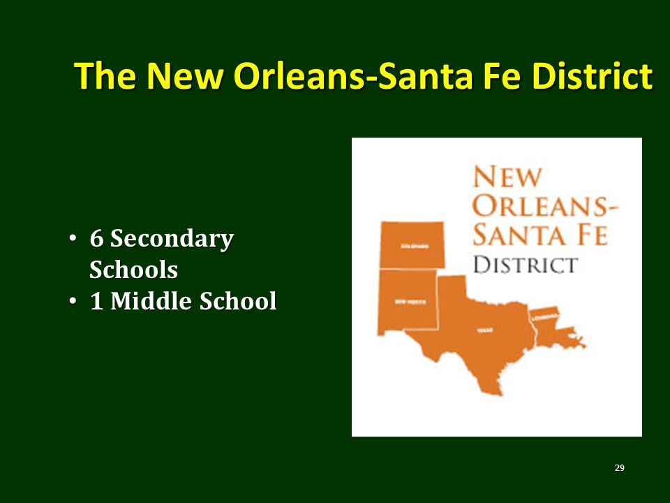 The New Orleans-Santa Fe District 29 6 Secondary Schools 6 Secondary Schools 1 Middle School 1 Middle School