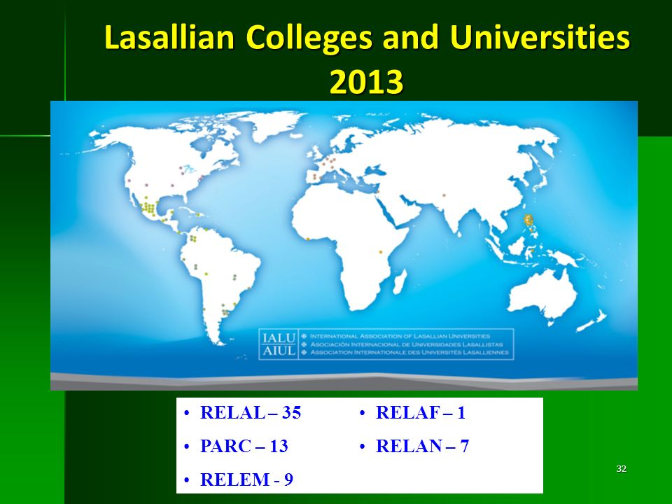 Lasallian Colleges and Universities 2013 RELAL – 35 PARC – 13 RELEM - 9 RELAF – 1 RELAN – 7 32