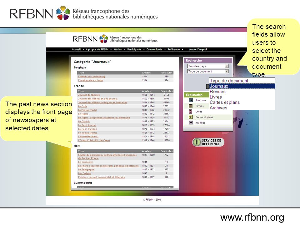 www.rfbnn.org The past news section displays the front page of newspapers at selected dates.