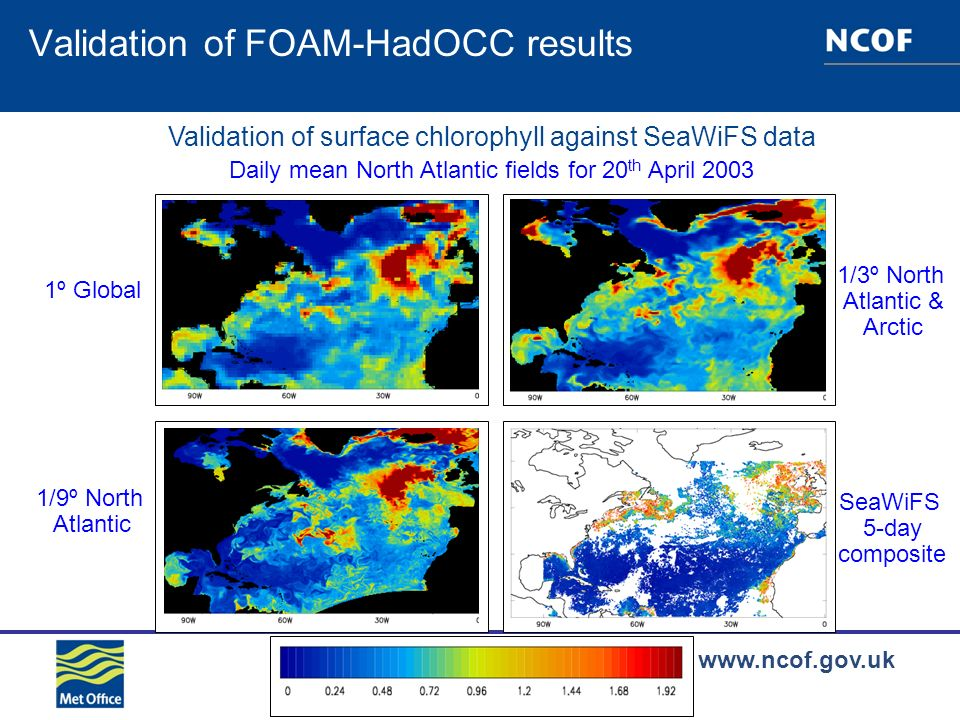 www.ncof.gov.uk Validation of FOAM-HadOCC results Validation of surface chlorophyll against SeaWiFS data Daily mean North Atlantic fields for 20 th April 2003 1º Global 1/3º North Atlantic & Arctic 1/9º North Atlantic SeaWiFS 5-day composite