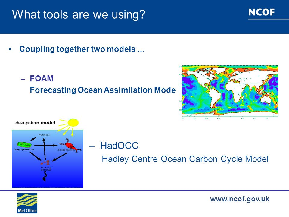 www.ncof.gov.uk Phytoplankton (mmol N/m 3 )Zooplankton (mmol N/m 3 ) Detritus (mmol N/m 3 )Nutrients (mmol N/m 3 ) Control - truthAssimilation - truth 3-D Twin experiments: daily mean RMS errors in the North Atlantic Total DIC (mmol C/m 3 ) Air-sea exchange of CO 2 significantly improved after assimilating ocean colour data Joint assimilation of Medspiration SST and ocean colour is desirable as carbon solubility is strongly dependent on temperature Free run BDA run