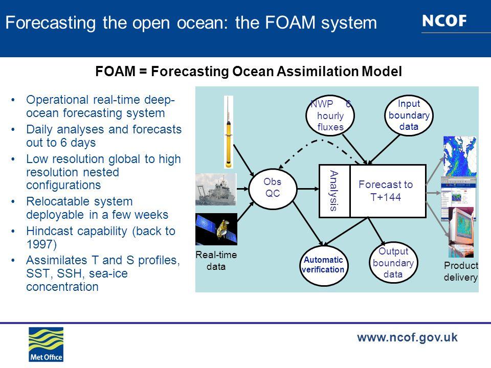 www.ncof.gov.uk Operational configurations 12km (1/9º) Mediterranean 6km (1/20º) North East Atlantic 36km (1/3º) North Atlantic and Arctic 12km (1/9º) North Atlantic 1º Global 36km (1/3º) Indian Ocean 12km (1/9º) Arabian Sea 27km (1/4º) Antarctic All configurations run daily in the operational suite