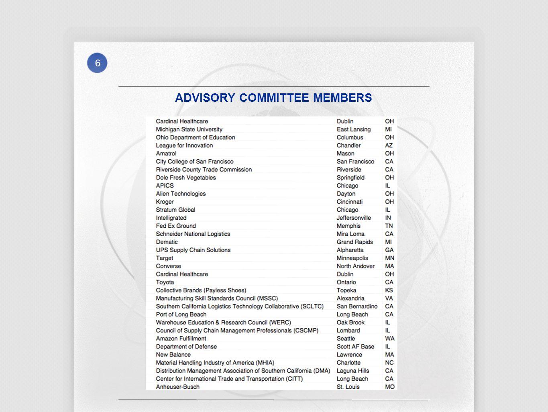 6 ADVISORY COMMITTEE MEMBERS