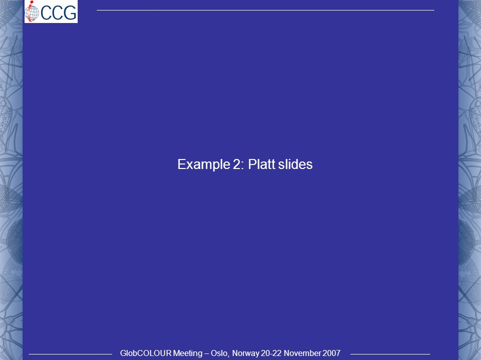GlobCOLOUR Meeting – Oslo, Norway 20-22 November 2007 Example 2: Platt slides