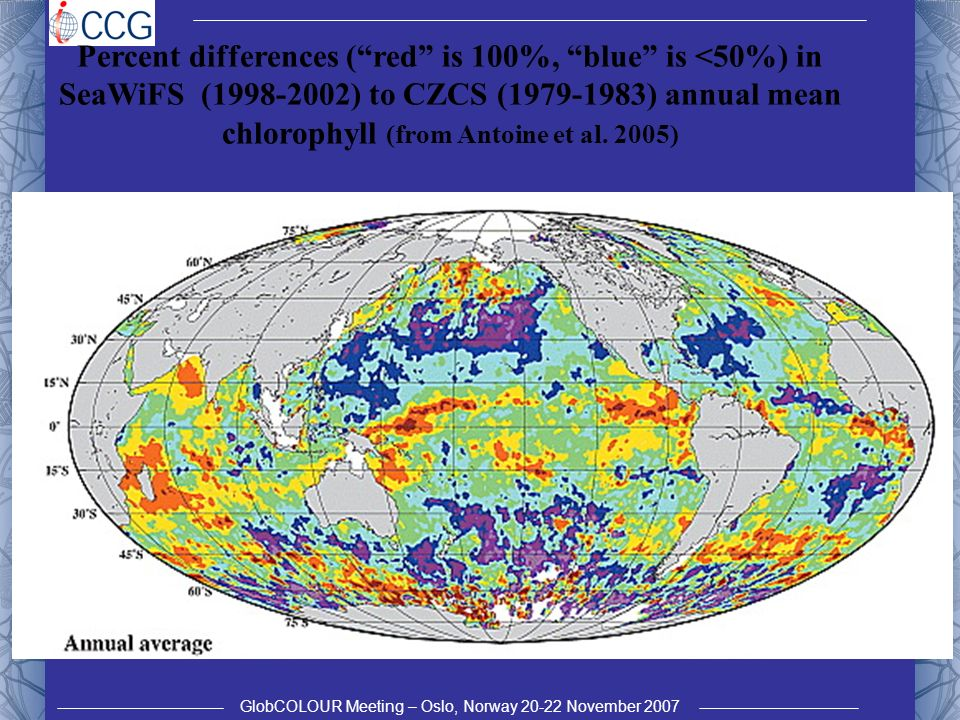 GlobCOLOUR Meeting – Oslo, Norway 20-22 November 2007 Trend in SeaWiFS chlorophyll, net primary production (NPP) and stratification anomalies (MEI) for stratified waters of the global ocean (from Behrenfeld et al.