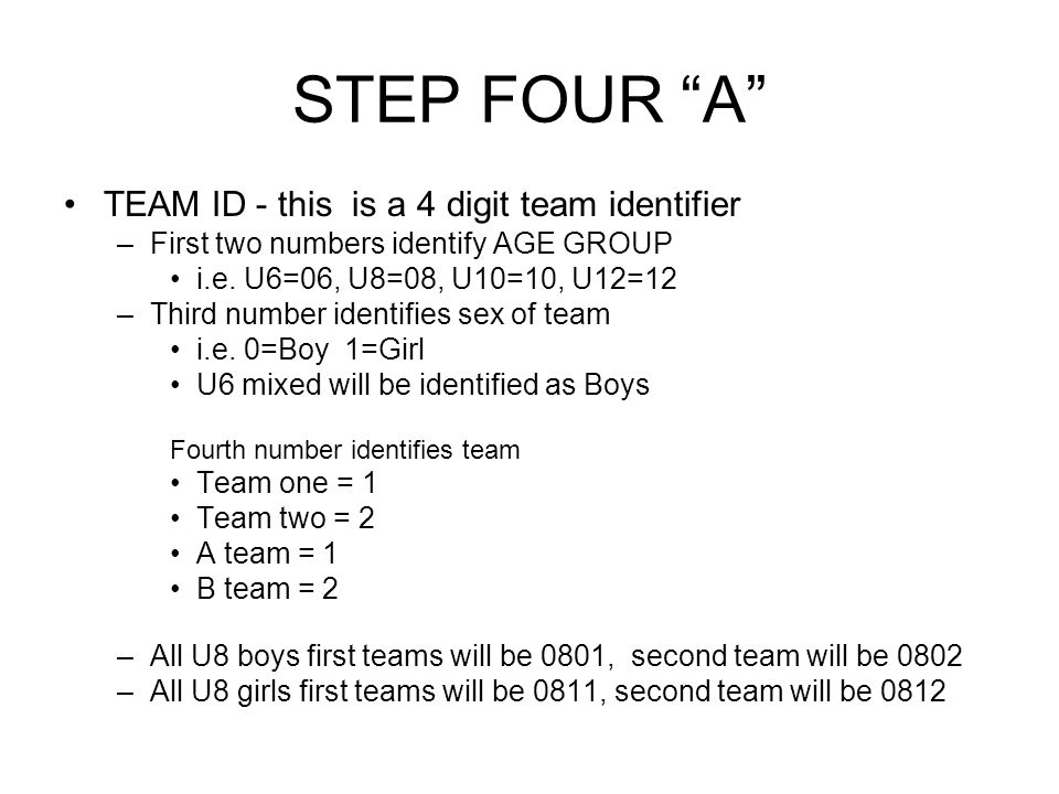 STEP FOUR A TEAM ID - this is a 4 digit team identifier –First two numbers identify AGE GROUP i.e.