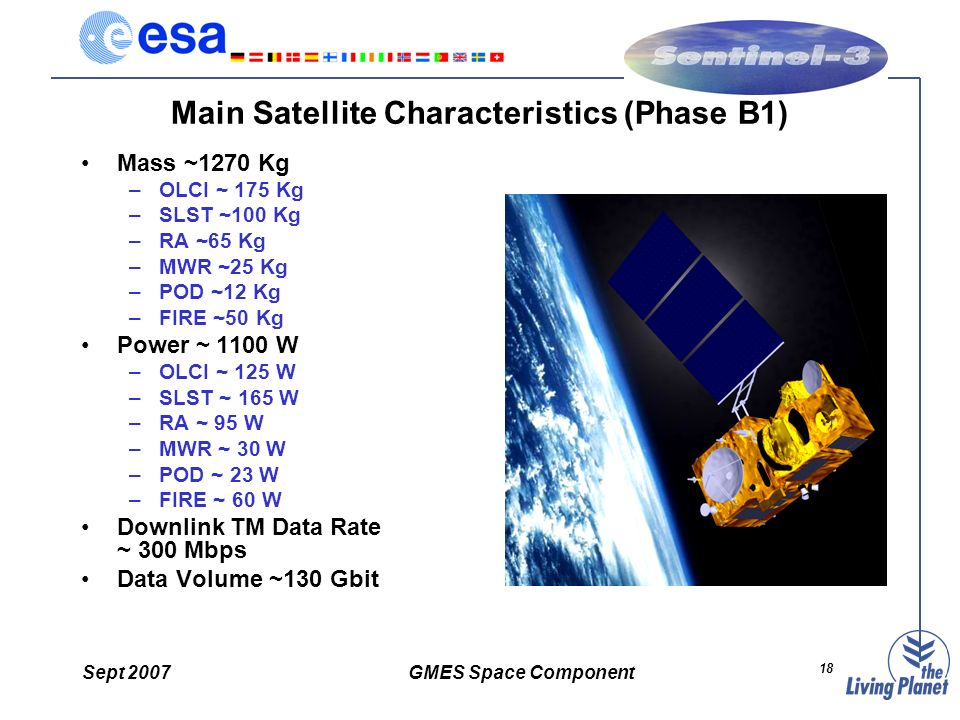 Sept 2007GMES Space Component 18 Main Satellite Characteristics (Phase B1) Mass ~1270 Kg –OLCI ~ 175 Kg –SLST ~100 Kg –RA ~65 Kg –MWR ~25 Kg –POD ~12 Kg –FIRE ~50 Kg Power ~ 1100 W –OLCI ~ 125 W –SLST ~ 165 W –RA ~ 95 W –MWR ~ 30 W –POD ~ 23 W –FIRE ~ 60 W Downlink TM Data Rate ~ 300 Mbps Data Volume ~130 Gbit