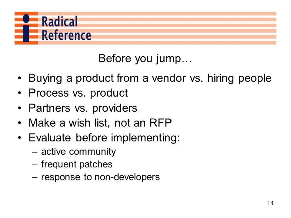 14 Before you jump… Buying a product from a vendor vs.